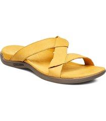 district kanoya slide gold shoes summer shoes flat sandals gul merrell