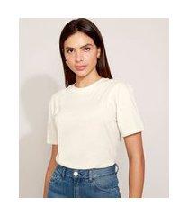 t-shirt feminina mindset oversized manga curta decote redondo off white