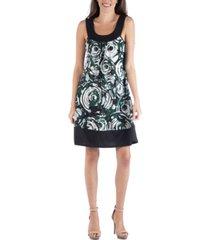 24seven comfort apparel colorblock geometric swirl pattern sleeveless mini dress