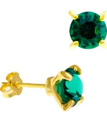 brinco horus import ponto luz verde esmeralda banhado ouro amarelo 18 k - 1031101 - kanui