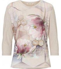 betty barclay -t-shirt beige roze bloem - 4757/0664/7865