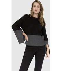 sweater mangas bicolor danielle negro racaventura