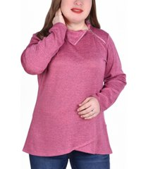 ny collection women's plus size long sleeve zippered high neck pullover top