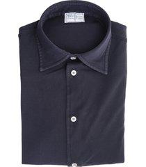 navy blue steve piquet giza organic shirt