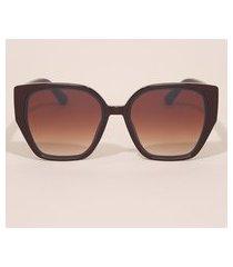 óculos de sol feminino quadrado yessica marrom