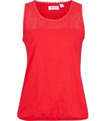 top in cotone con pizzo traforato (rosso) - john baner jeanswear