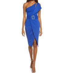 women's lavish alice one-shoulder cutout dress, size 4 - blue