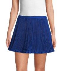 redvalentino women's micro-pleat mini skort - blue - size 40 (8)
