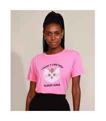 """t-shirt feminina mindset gato i don't like you"""" manga curta decote redondo rosa"""""""