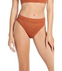 women's bound by bond-eye the savannah high cut ribbed bikini bottoms, size one size - brown