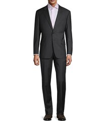 armani collezioni men's standard-fit striped virgin-wool suit - black - size 58 (48) r