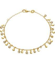 bracciale placcato oro con zirconi pendenti per donna