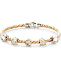 alor women's 18k two-tone gold, stainless steel & white topaz cable bracelet
