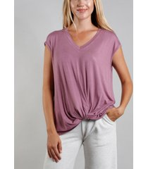 coin 1804 women's v-neck twist front t-shirt