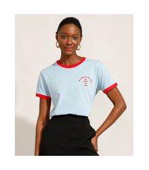"""t-shirt de algodão com bordado it's nice"""" manga curta decote redondo mindset azul claro"""""""