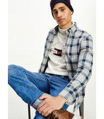 tommy hilfiger men's regular fit slub cotton check shirt light grey heather / sea steel / multi - xxxl