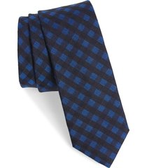men's ted baker london check silk & wool tie, size one size - blue
