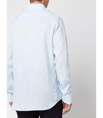 canali men's linen regular fit shirt - light blue - xl
