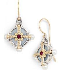women's konstantino etched silver pearl & ruby drop earrings
