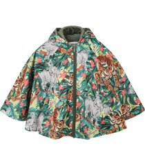 kenzo kids multicolor poncho for girl with animals