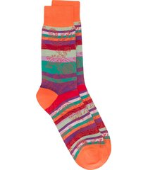 etro striped paisley socks - orange