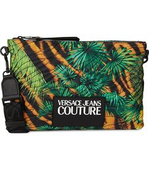 versace jeans couture women's tropical-print logo patch crossbody bag - black multi