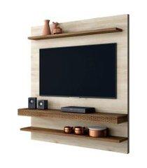 painel home suspenso para tv até 55 polegadas sala de estar web new vanilla/canela - frade movelaria
