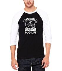 men's pug life raglan baseball word art t-shirt
