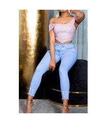 sexy skinny washed-look jeans met geribde bies blauw