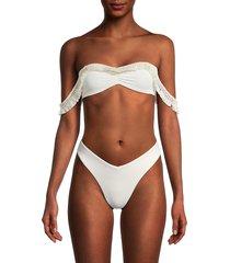 weworewhat women's tassel bikini top - saffron - size s