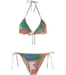 amir slama printed triangle bikini set - multicolour