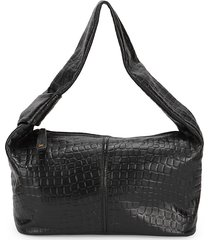 sam edelman women's audrea croc-embossed leather shoulder bag - black