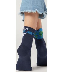 calzedonia women's eco-sustainable renewable fibre patterned ankle socks woman blue size tu