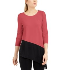 alfani colorblocked asymmetrical top, created for macy's