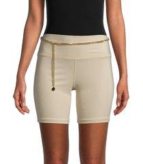 weworewhat women's ribbed chain-belt bike shorts - khaki - size l