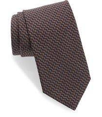 men's brioni geometric silk tie, size one size - brown