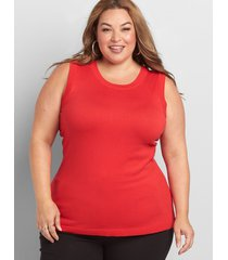 lane bryant women's sleeveless sweater shell 26/28 racing red