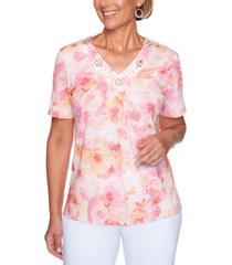 alfred dunner classics watercolor flowers embellished top