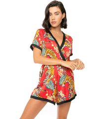 red short jumpsuit with tiger print