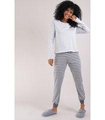 pijama feminino a dama e o vagabundo manga longa cinza mescla