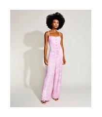 macacão feminino mindset estampado tie dye com botões e lastex alça fina rosa