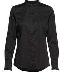 feminine fit shirt w. plisse grosgr overhemd met lange mouwen zwart coster copenhagen