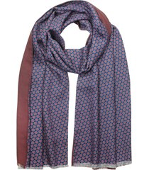 forzieri designer men's scarves, blue printed silk and burgundy wool & cashmere men's double scarf