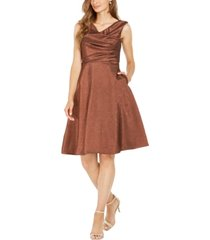adrianna papell metallic cowlneck dress