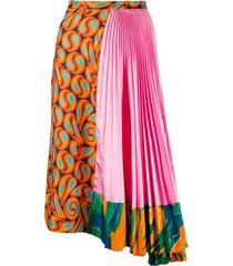 asymmetric multi print skirt