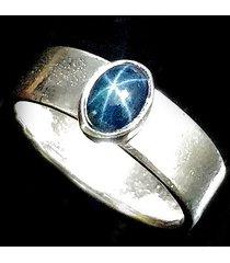 pierścionek z szafirem gwiaździstym