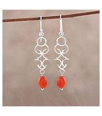 onyx dangle earrings, 'sublime tendrils' (india)