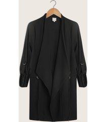 chaqueta larga de manga tres cuartos con dobladillo-14