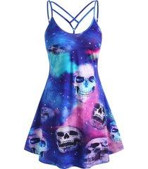 plus size hallowmas lattice tie dye skulls print cami dress
