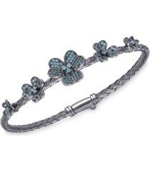 crystal flowers bangle bracelet in ruthenium over sterling silver
